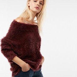Express Fuzzy Faux Fur Off Shoulder Maroon Sweater